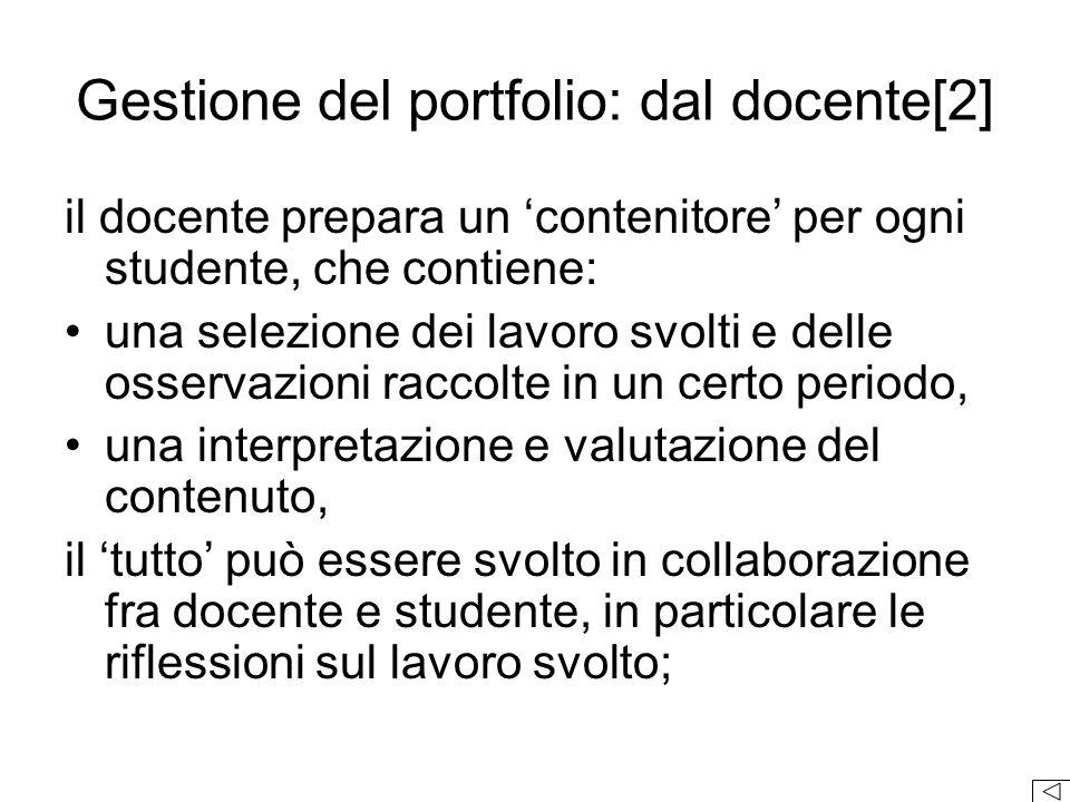 Gestione del portfolio: dal docente[2]